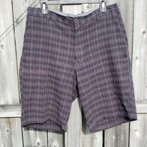 Burnside Plaid Shorts in Gray & Black